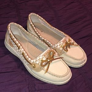 White & Gold Anchor Women's Sperry boat shoes